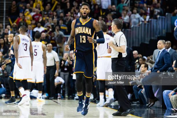 Paul George of the Indiana Pacers reacts during the final seconds of the first overtime period against the Cleveland Cavaliers at Quicken Loans Arena...