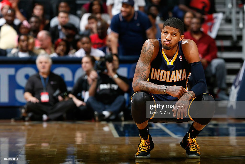 Paul George #24 of the Indiana Pacers reacts in the fourth quarter to their 90-69 loss to the Atlanta Hawks during Game Three of the Eastern Conference Quarterfinals of the 2013 NBA Playoffs at Philips Arena on April 27, 2013 in Atlanta, Georgia.