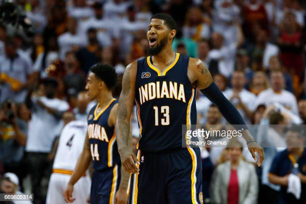 Paul George of the Indiana Pacers reacts to a late foul call while playing the Cleveland Cavaliers in Game Two of the Eastern Conference...
