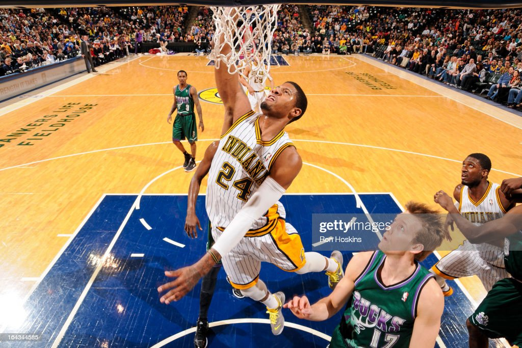 Milwaukee bucks v indiana pacers photos and images getty images paul george 24 of the indiana pacers rises for a dunk against the milwaukee bucks voltagebd Choice Image