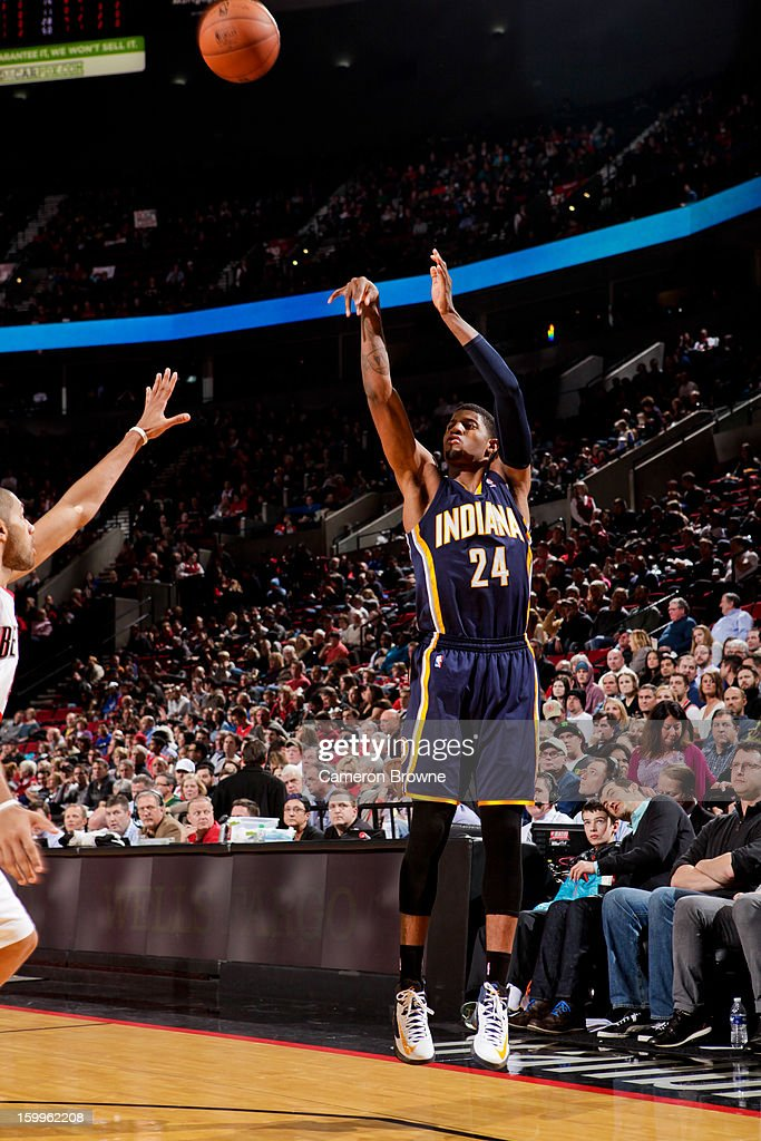 Paul George #24 of the Indiana Pacers shoots a three-pointer against the Portland Trail Blazers on January 23, 2013 at the Rose Garden Arena in Portland, Oregon.