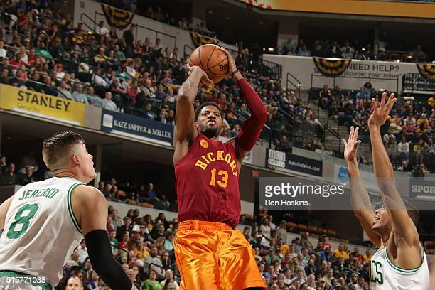 Paul George of the Indiana Pacers shoots against the Boston Celtics on March 15 2016 at Bankers Life Fieldhouse in Indianapolis Indiana NOTE TO USER...