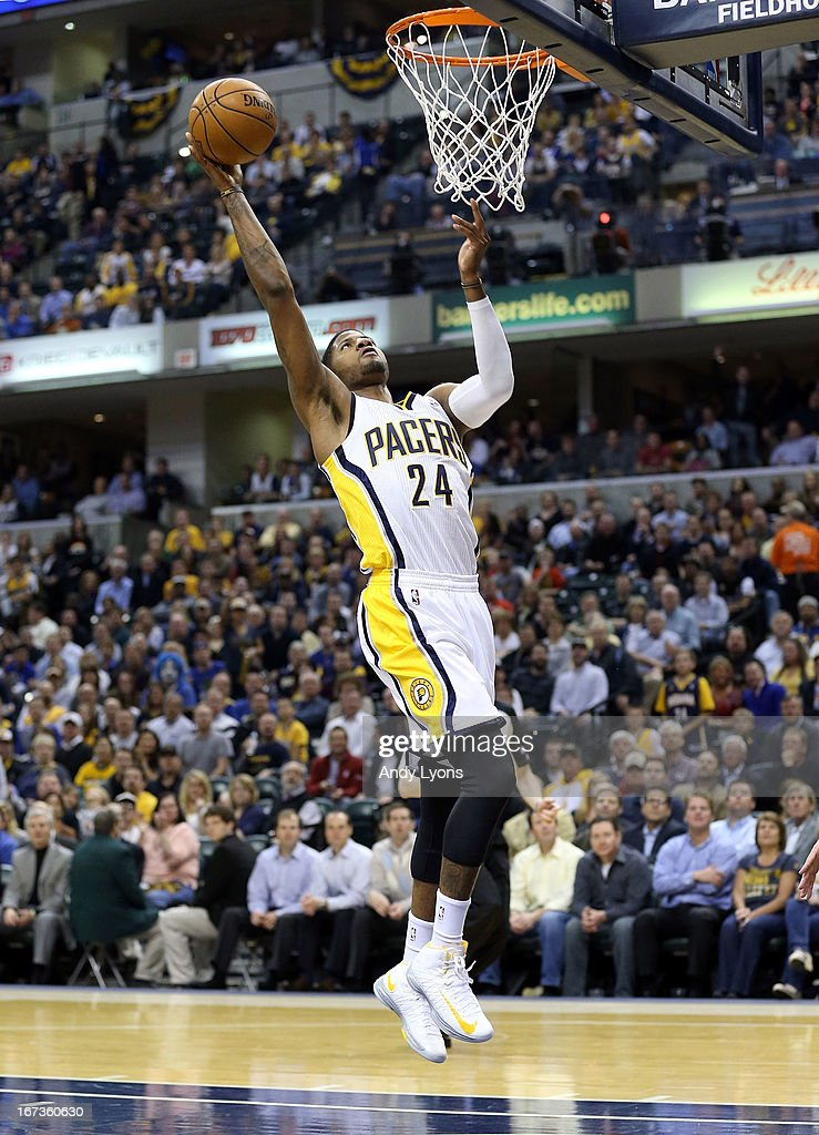 Paul George #24 of the Indiana Pacers shoots the ball against the Atlanta Hawks during Game Two of the Eastern Conference Quarterfinals of the 2013 NBA Playoffs at Bankers Life Fieldhouse on April 24, 2013 in Indianapolis, Indiana.