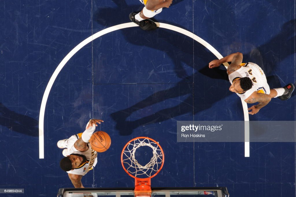 Paul George #13 of the Indiana Pacers shoots the ball against the Detroit Pistons on March 8, 2017 at Bankers Life Fieldhouse in Indianapolis, Indiana.