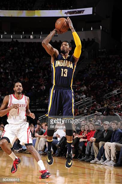 Paul George of the Indiana Pacers shoots the ball against the Houston Rockets on January 10 2016 at the Toyota Center in Houston Texas NOTE TO USER...