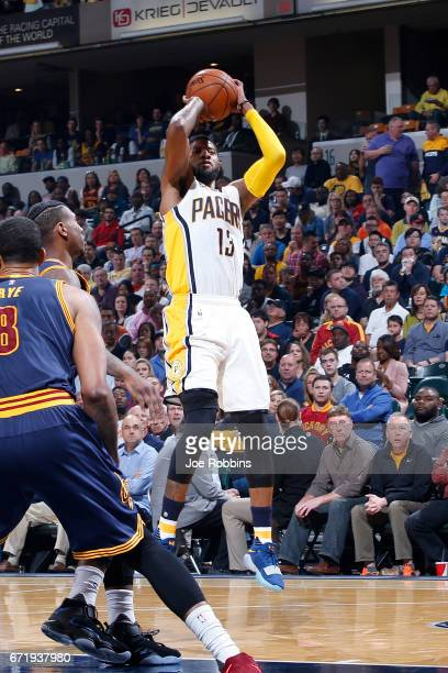 Paul George of the Indiana Pacers shoots the ball against the Cleveland Cavaliers in the first half of Game Four of the Eastern Conference...