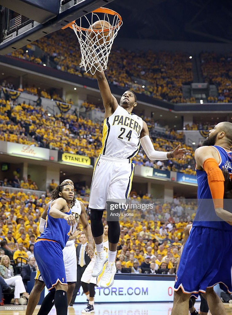 Paul George #24 of the Indiana Pacers shoots the ball against the New York Knicks during Game Six of the Eastern Conference Semifinals of the 2013 NBA Playoffs at Bankers Life Fieldhouse on May 18, 2013 in Indianapolis, Indiana.