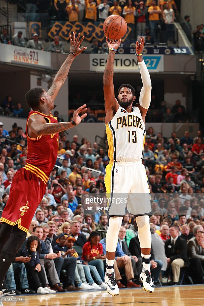Paul George of the Indiana Pacers shoots the ball against