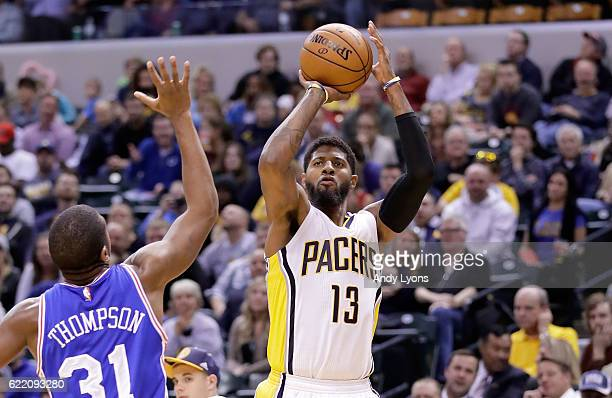 Paul George of the Indiana Pacers shoots the ball during the game against the Philadelphia 76ers at Bankers Life Fieldhouse on November 9 2016 in...