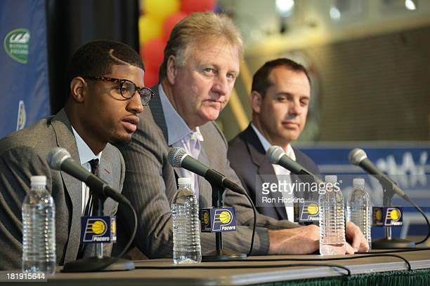 Paul George of the Indiana Pacers speaks during a press conference about his contract extension with Larry Bird the team president and Frank Vogel...