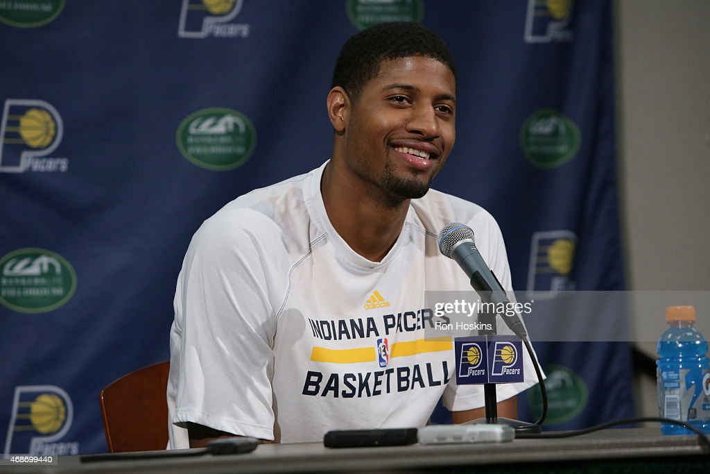 Miami heat v indiana pacers paul george 13 of the indiana pacers speaks to the media after a game the voltagebd Images