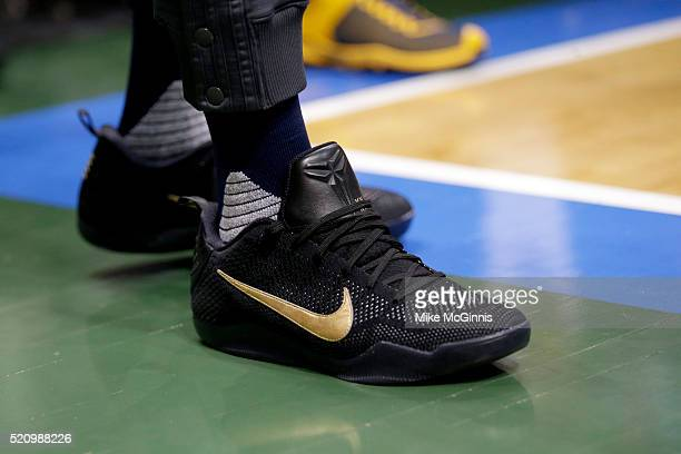 Paul George of the Indiana Pacers stands out of bounds during the first quarter in his NIKE signature Mamba shoes against the Milwaukee Bucks at BMO...