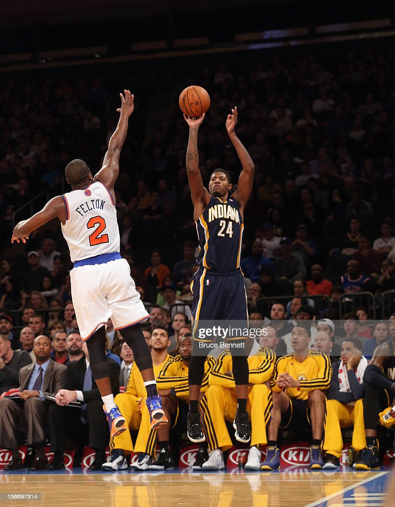 Paul George #24 of the Indiana Pacers takes the shot against the New York Knicks at Madison Square Garden on November 18, 2012 in New York City.