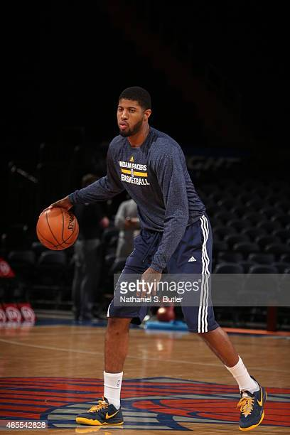 Paul George of the Indiana Pacers warms up before the game against the New York Knicks on March 7 2015 at Madison Square Garden in New York City NOTE...