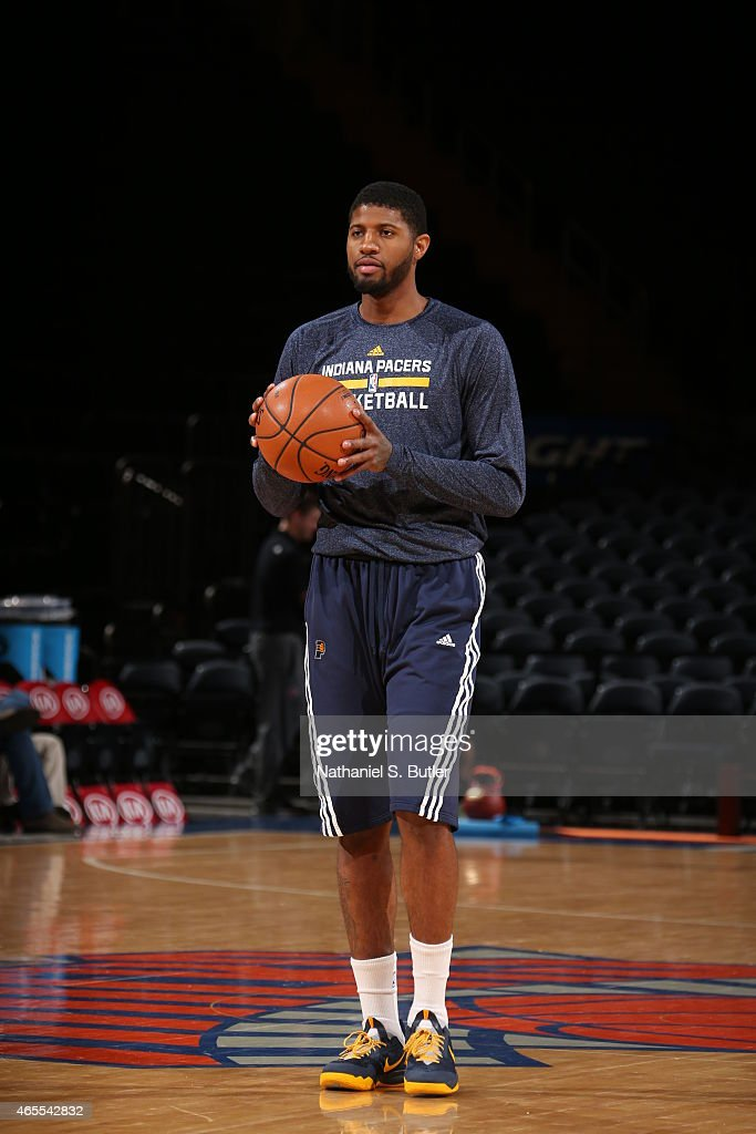 Paul George #13 of the Indiana Pacers warms up before the game against the New York Knicks on March 7, 2015 at Madison Square Garden in New York City.