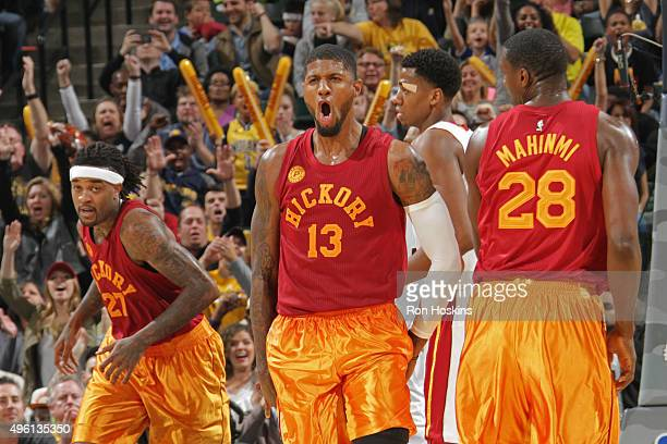 Paul George of the Indiana Pacers yells as he celebrates during the game against the Miami Heat on November 6 2015 in Indianapolis Indiana NOTE TO...