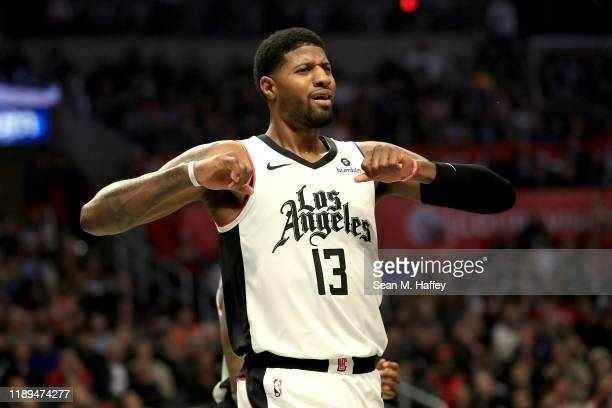 Paul George of the Los Angeles Clippers reacts to being called for a foul during the first half of a game against the Houston Rockets at Staples...
