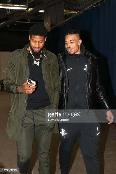Paul George of the Oklahoma City Thunder and Gerald Green of the Houston Rockets arrives before the game on March 6 2018 at Chesapeake Energy Arena...