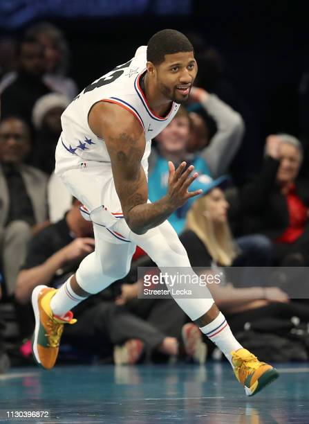 Paul George of the Oklahoma City Thunder and Team Giannis celebrates a shot against Team LeBron in the second quarter during the NBA AllStar game as...