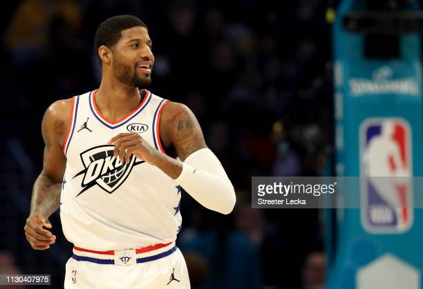 Paul George of the Oklahoma City Thunder and Team Giannis reacts against Team LeBron in the second quarter during the NBA AllStar game as part of the...