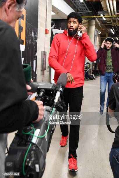 Paul George of the Oklahoma City Thunder arrives at the arena before the game against against the Utah Jazz in Game Four of Round One of the 2018 NBA...