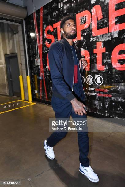 Paul George of the Oklahoma City Thunder arrives before the game against the LA Clippers on January 4 2018 at STAPLES Center in Los Angeles...