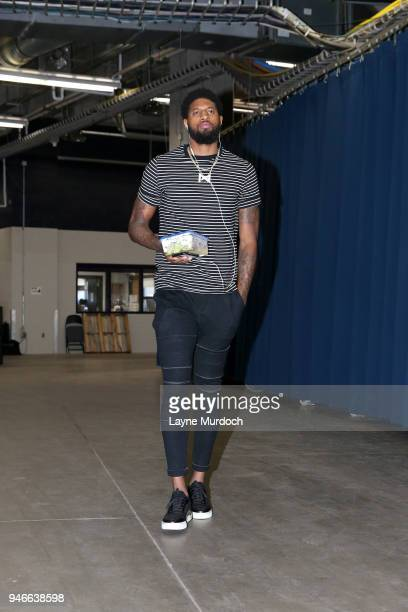 Paul George of the Oklahoma City Thunder arrives before the game against the Utah Jazz during Game One of Round One of the 2018 NBA Playoffs on April...