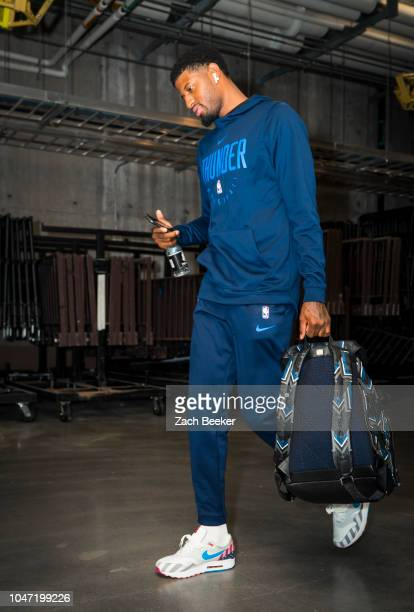 Paul George of the Oklahoma City Thunder arrives to the arena prior to a preseason game against the Atlanta Hawks on October 7 2018 at BOK Center in...