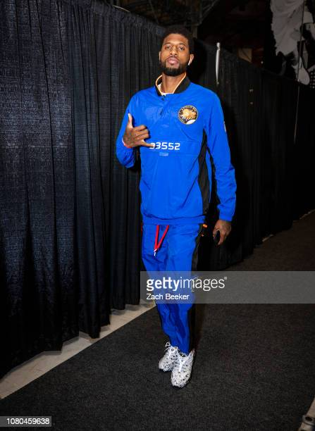 Paul George of the Oklahoma City Thunder arrives to the arena prior to the game against the San Antonio Spurs on January 10 2019 at the ATT Center in...
