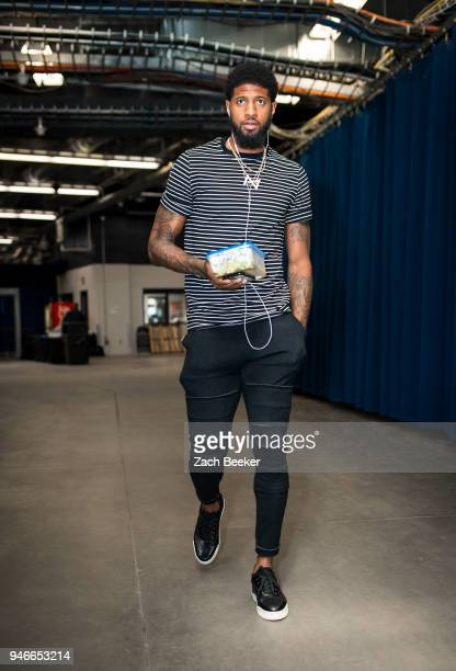 Paul George of the Oklahoma City Thunder arrives to the arena prior to Game One of Round One of the 2018 NBA Playoffs against the Utah Jazz on April...