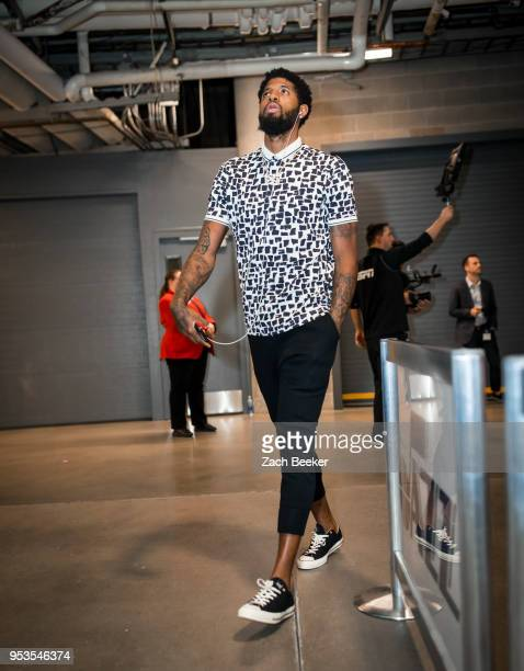 Paul George of the Oklahoma City Thunder arrives to the arena prior to Game Six of the Western Conference Quarterfinals during the 2018 NBA Playoffs...
