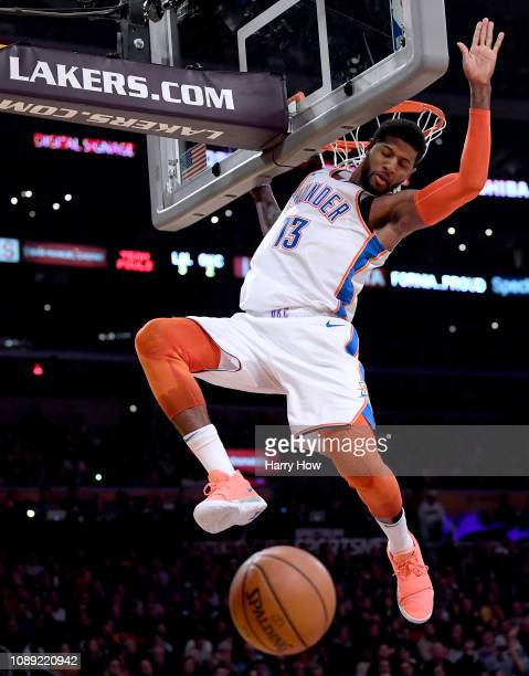 Paul George of the Oklahoma City Thunder called for a technical foul after his dunk during the first half against the Los Angeles Lakers at Staples...