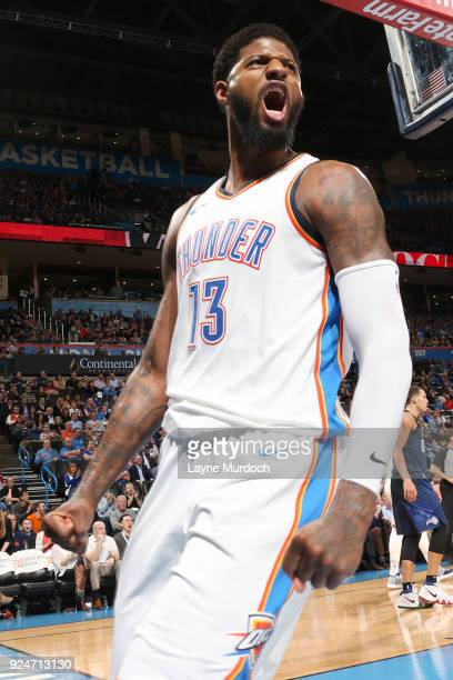 Paul George of the Oklahoma City Thunder celebrates during the game against the Orlando Magic on February 26 2018 at Chesapeake Energy Arena in...
