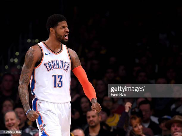 Paul George of the Oklahoma City Thunder celebrates his alley oop dunk during a 107100 win over the Los Angeles Lakers at Staples Center on January...