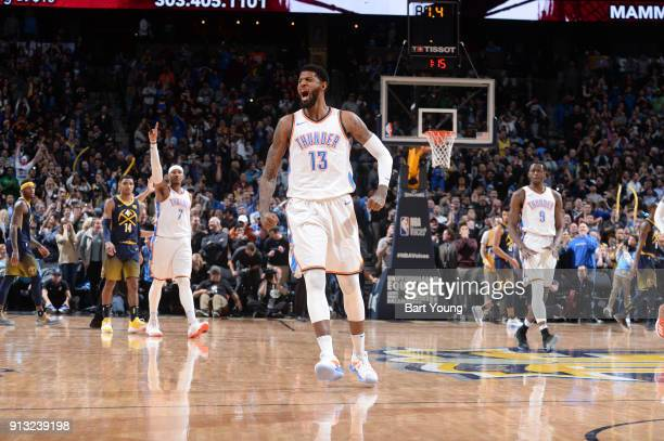 Paul George of the Oklahoma City Thunder celebrates hitting the game tying shot against the Denver Nuggets on February 1 2018 at the Pepsi Center in...
