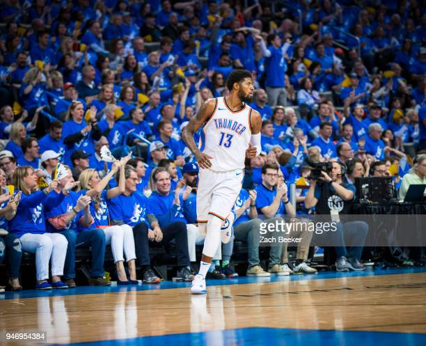 Paul George of the Oklahoma City Thunder during the game against the Utah Jazz during Game one and Round one of the 2018 NBA Playoffs on April 15...