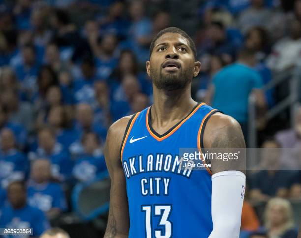 Paul George of the Oklahoma City Thunder during the second half of a NBA game against the New York Knicks at the Chesapeake Energy Arena on October...