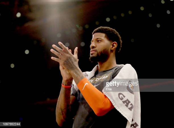 Paul George of the Oklahoma City Thunder encourages his teammates from the bench in the fourth quarter against the New York Knicks at Madison Square...