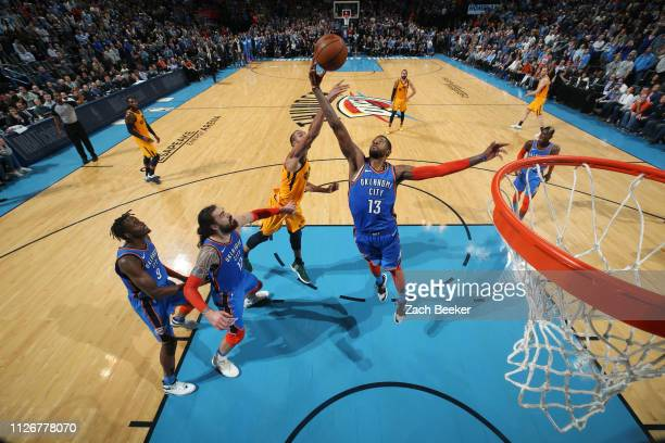Paul George of the Oklahoma City Thunder gets the rebound against the Utah Jazz on February 22, 2019 at Chesapeake Energy Arena in Oklahoma City,...