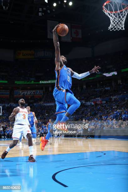 Paul george basket stock photos and pictures getty images paul george of the oklahoma city thunder goes to the basket against the new york knicks voltagebd Gallery