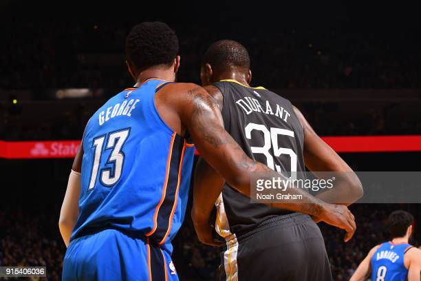 Paul George of the Oklahoma City Thunder guards Kevin Durant of the Golden State Warriors on February 6 2018 at ORACLE Arena in Oakland California...