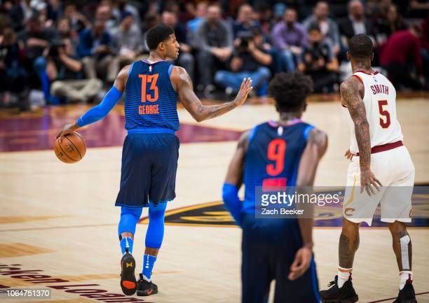 Paul George of the Oklahoma City Thunder handles the ball against the Cleveland Cavaliers on November 7 2018 at the Quicken Loans Arena in Cleveland...