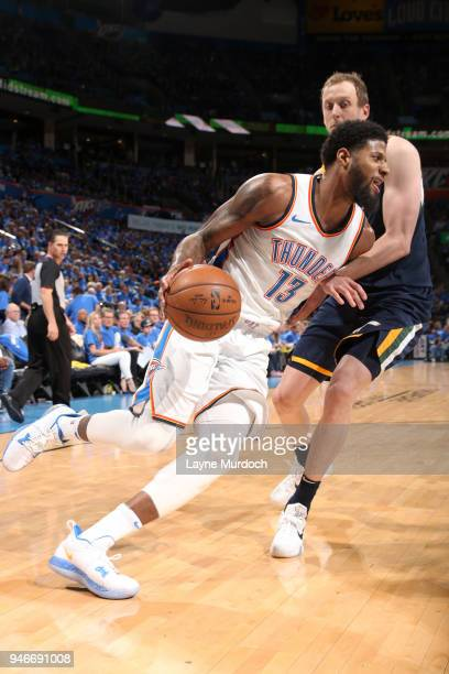 Paul George of the Oklahoma City Thunder handles the ball against the Utah Jazz during Game One of Round One of the 2018 NBA Playoffs on April 15...