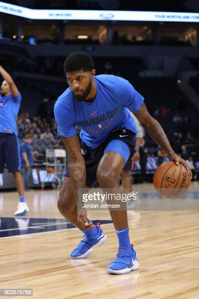 Paul George of the Oklahoma City Thunder handles the ball before the game against the Minnesota Timberwolves on January 10 2018 at Target Center in...