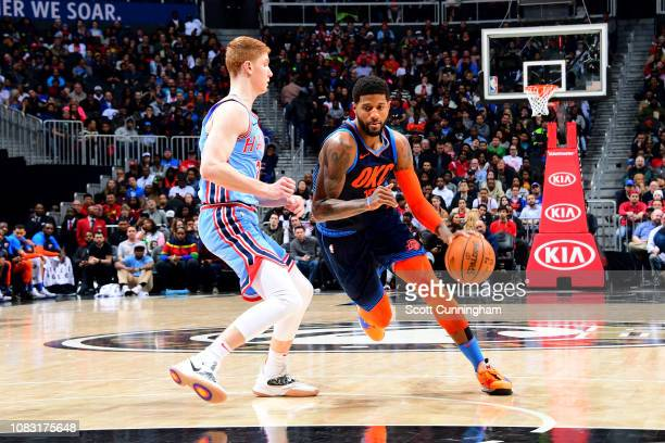 Paul George of the Oklahoma City Thunder handles the ball during the game against the Atlanta Hawks on January 15 2019 at State Farm Arena in Atlanta...