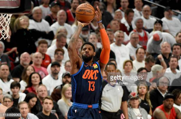 Paul George of the Oklahoma City Thunder hits a shot during the first half of Game Five of the Western Conference quarterfinals against the Portland...