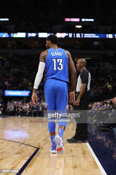 Paul George of the Oklahoma City Thunder is seen on the court during the game against the Minnesota Timberwolves on January 10 2018 at Target Center...