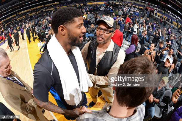 Paul George of the Oklahoma City Thunder is seen with his father after the game against the Los Angeles Lakers on January 3 2018 at STAPLES Center in...