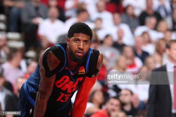 Paul George of the Oklahoma City Thunder looks on against the Portland Trail Blazers during Game Five of Round One of the 2019 NBA Playoffs on April...
