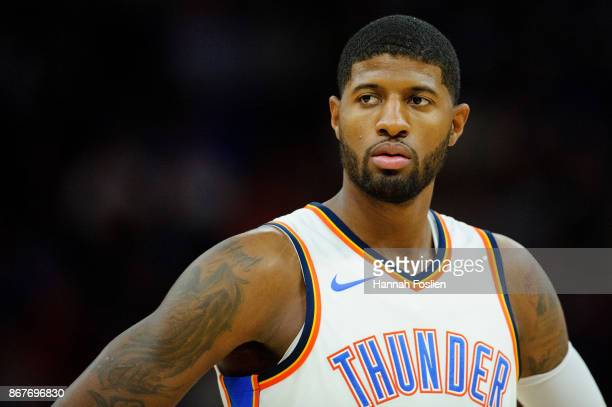 Paul George of the Oklahoma City Thunder looks on during the game against the Minnesota Timberwolves on October 27 2017 at the Target Center in...